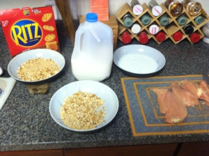 What 'cha need - milk, egg, chicken, crackers and cheese